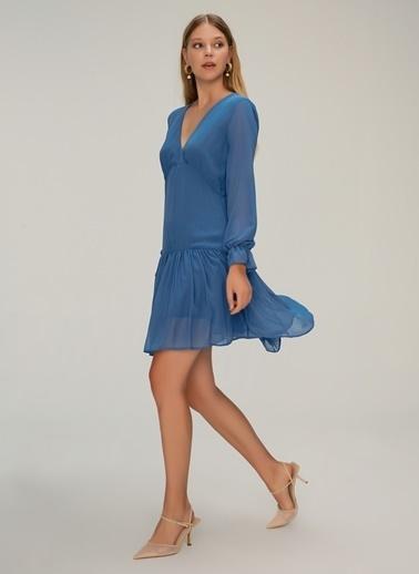 NGSTYLE Volan Detaylı Mini Elbise İndigo